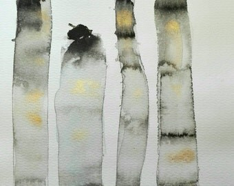 Black and Golden columns. Abstract painting on paper. Moderna.minimalista