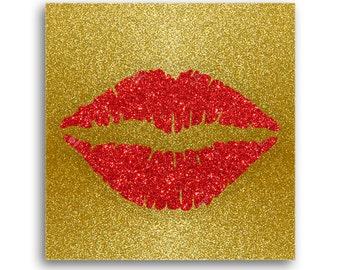 Custom Glitter lips Canvas Art