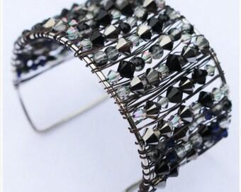Jet cuff bracelet featuring Swarovski crystals