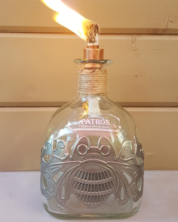 Handmade Special Edition Patron Tequila Liquor Bottle Tiki Torch
