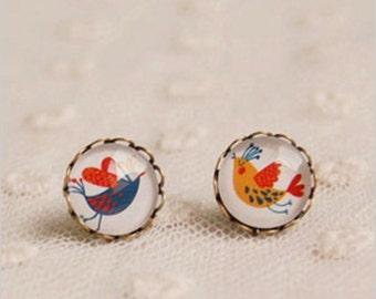 Spring Love Birds & Hearts. Handmade Vintage Boho Glass Stud Earrings. Jewellery Gift for Women, Girlfriend, Wife, Fiancee, Girl.