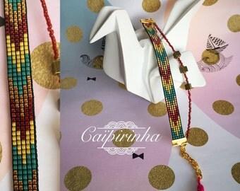 Gilded Burgundy woven bracelet