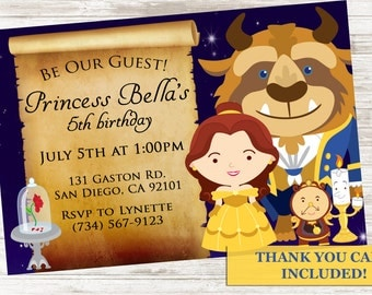 Beauty and The Beast Inspired Invite Birthday Party Invitation 5x7 Belle Princess Kids Digital