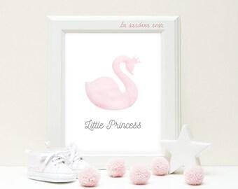 Swan print, Pink Purple nursery wall art, Baby girl room decor, Princess nursery print, Baby girl nursery print