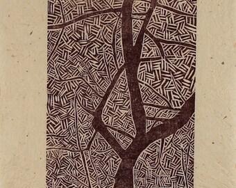 Tree Woodblock Print