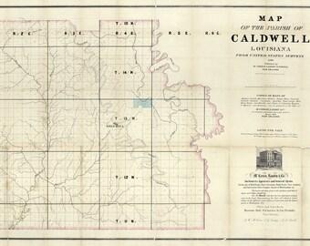 1860 Map of Caldwell Parish (County) Louisiana Columbia