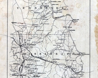 1862 Map Part of McNairy Hardin County Tennessee and Alcorn Tishomingo County Mississippi