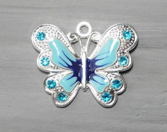 Blue and silver enamel butterfly pendant (1), enamel butterfly charm, large charm