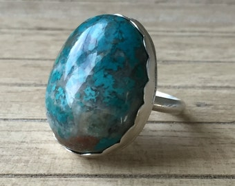 Beautiful Chrysocolla & Silver Ring