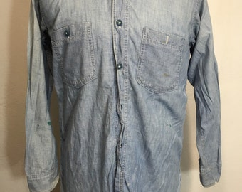 40's vintage WW2 us navy distressed chambray shirt stenciled