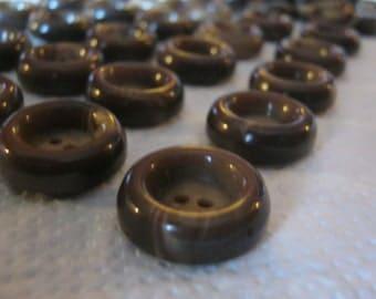 50 piece trouser buttons Brown, diameter ca. 20 mm, new, Lübeck button Manufactory