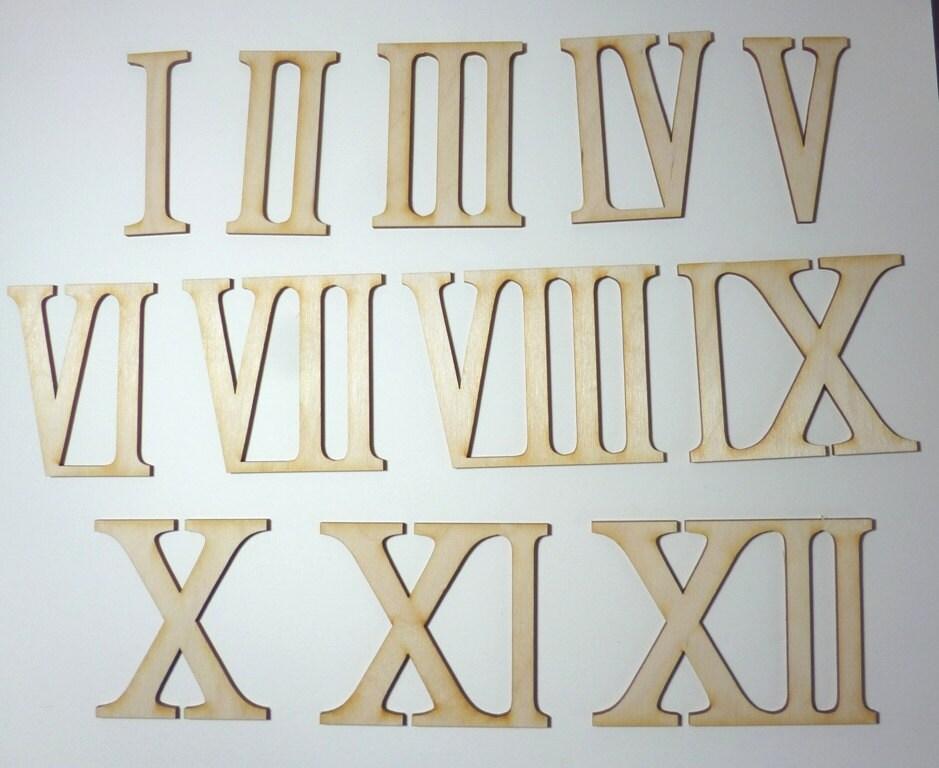 bois de chiffres romains 12 80 mm chiffres de contreplaqu de. Black Bedroom Furniture Sets. Home Design Ideas