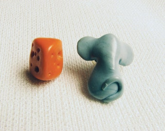 Vintage Mouse and Cheese Polymer Clay Earrings/ Bizarre Jewelry