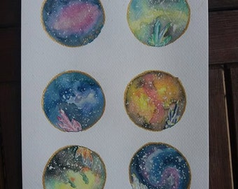 Galaxy original watercolor painting