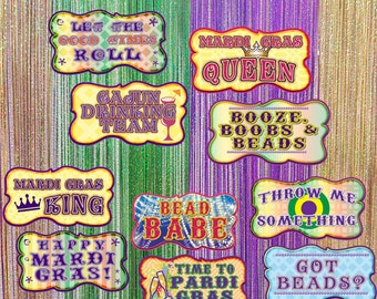 Mardi Gras Photo Booth Props | Mardi Gras Props | Mardi Gras Signs | Photo Booth Props | Prop Signs