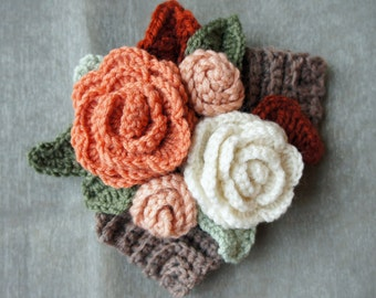 Crochet Autumn Flower Corsage
