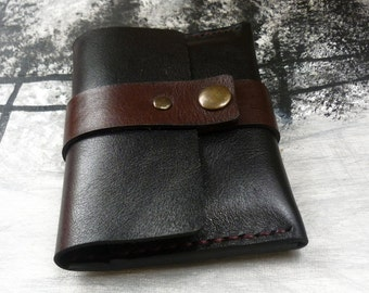 minimalist leather wallet, mini leather wallet, leather wallet personalized, black wallet, handmade wallet, card holder, Valentine gift