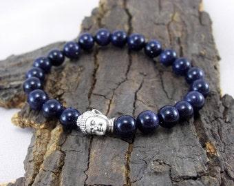 Buddha bracelet and sparkling blue River pearls
