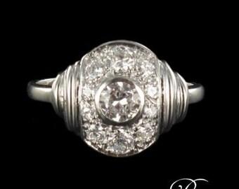1930 18K white gold ring Platinum Art deco