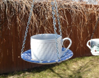 Tea Cup Bird Feeder with Blue and White Saucer