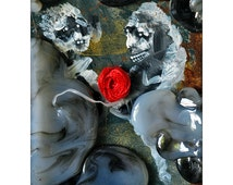 Small Wall Art Sculpture, 3D Collage on metal, Surreal in Utero Space with two fetus, Small conceptual sculpture work, Avant-garde Mixmedia
