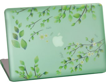 Macbook Pro 15 inches Hard Case for model A1286 (with or without Thunderbolt), Green Leaves Design with Green Bottom Case