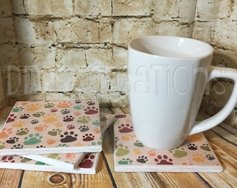 Dog/Cat Paw Print Tile Coasters, dog, cat, paw, paw print, coasters, drink coasters, tile coasters, paw print coasters, gift, dog paw print