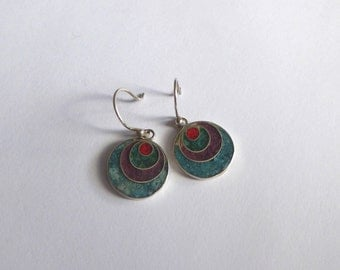 Colorful round stone and silver earrings