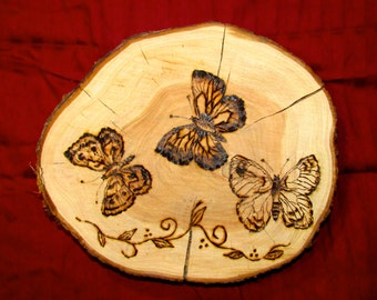"Butterfly Woodburning, pyrography ""Butterflies are Free"""