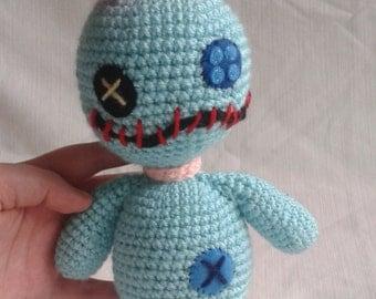 Disney inspired Lilo and Stitch Scrump Doll. Crochet amigurumi plushie.