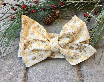 Christmas Headwrap, Snowflake Headwrap, Gold, Big Bow Headwrap, Tied Bow Headwrap, Headband, Baby Girl Headwrap, Glitter Headwrap