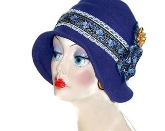 Navy blue felted wool Flapper full coverage cloche benefits Susan Komen