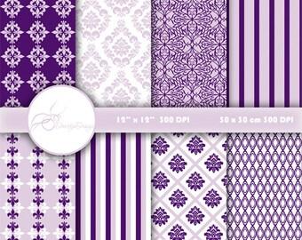 SALE Purple damask digital paper pack download, Scrapbook Paper Floral Damask, Digital Paper Wedding Damask Digital Printables #500