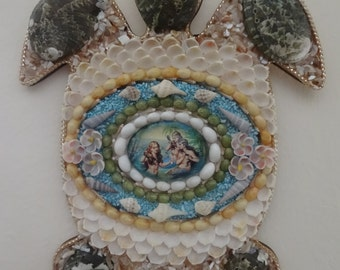 Seashell turtle, shell turtle, abalone, mermaid, seashell mermaid, sea turtle wall hanging, sea turtle decor, beach decor, mermaid art