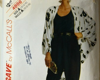 1980s McCall's Vintage Sewing Pattern 4000, Size 10, 12, 14
