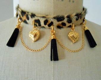 Leopard print necklace, Leopard print jewelry, Leopard necklace, leopard collar, Leopard Jewelry, Leopard leather