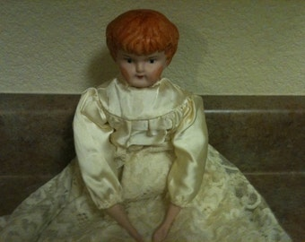 "14"" Porcelain/Cloth Hand-Painted Doll"