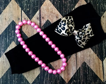 Monogrammed leopard soft clip hair bow