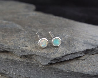 Natural white opal gemstone earrings, 3 mm, in a sterling silver bezel setting. Sleepers, stud earrings. October birthstone. Made to order