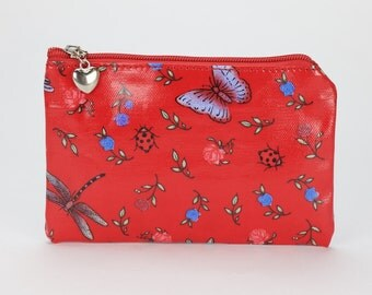 Oilcloth Zip Pouch wallet - Dragonfly butterfly - Passport case- Oil cloth zip Coin purse - Ladies purse - Woman wallet- Travel card holder