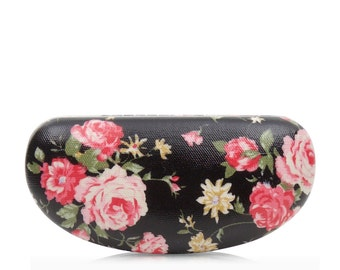 Hard Sunglass case - Black Rose - Oilcloth Ladies Sunglasses case - Oil cloth Womens Glasses case - Eyeglass Holder - Shabby chic lover
