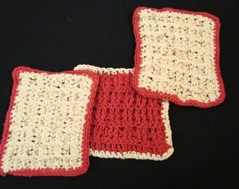 Crochet Cotton Dish Scrubbers - Set of 3