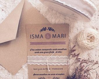 Wedding invitation with envelope Lavanda