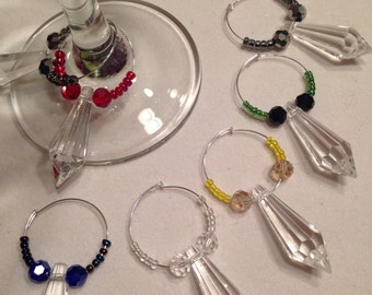 wine glass charms set of six