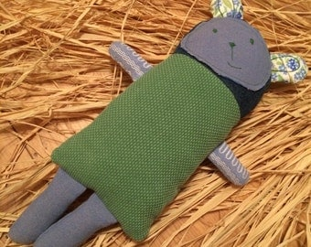 Soft Sleeping Toy. Soft plush toddler toy. Baby sleeping toy. Cute green toy.