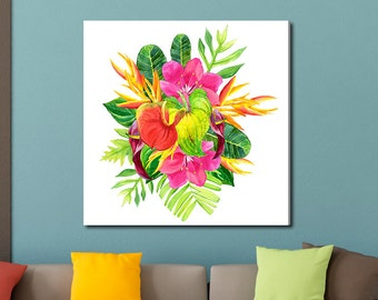 Tropical Flowers and Leaves, Tropical Watercolor Gallery-Wrapped Canvas