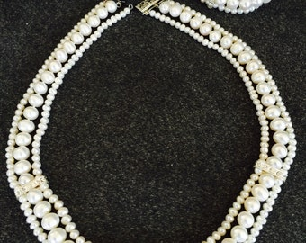 Triple strand pearl necklace with matching bracelet