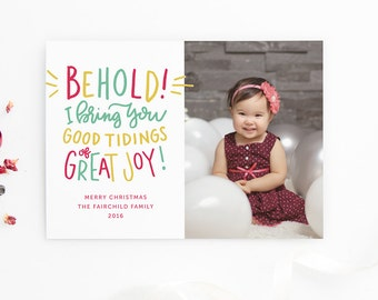 Religious Christmas Cards - Scripture Cards - Hand Lettered Glad Tidings - Custom Photo Cards