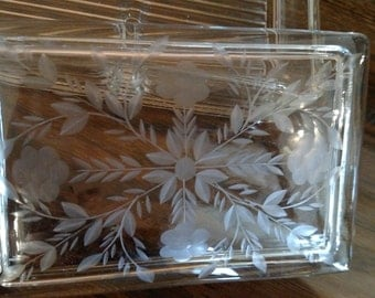 Etched Glass Jewelry, Keepsake or Serving Box - Vintage