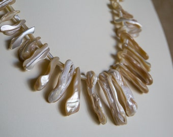 Taupe Mother of Pearl shell necklace